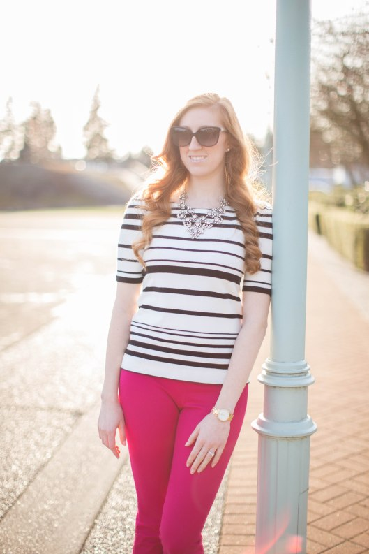 Pink J.Crew minnie pant black and white striped top