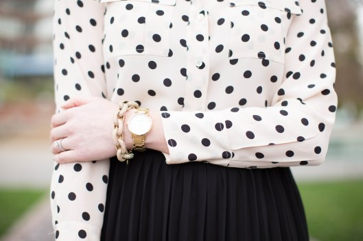 Asos midi skirt polka dot blouse