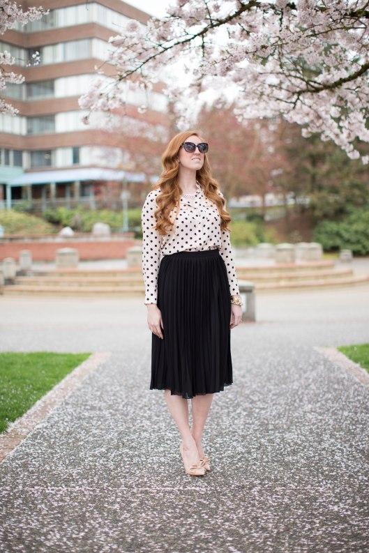 Asos midi skirt polka dot blouse